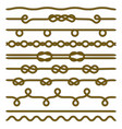 set rope and knots decorative elements collection vector image