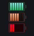 set various types transparent batteries vector image vector image