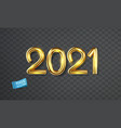 shiny isolated gold numbers 2021 vector image vector image