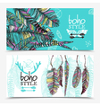 Sketch Feathers Horizontal Banners vector image