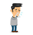 sneezing person man character flat vector image