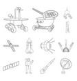 space technology outline icons in set collection vector image