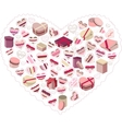 Stylized pink heart made of gift boxes vector image vector image