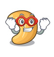 super hero cashew nut salty roasted on cartoon vector image
