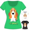 T-shirt with dog Basset Hound vector image vector image