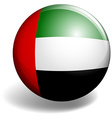 United Arab Emirates flag on round badge vector image vector image