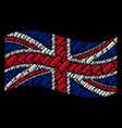 waving great britain flag mosaic of comb icons vector image