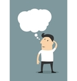 Male cartoon character with a blank thought bubble vector image