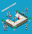 preparing to feast isometric composition vector image
