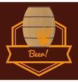 beer barrel wooden wheats label brown background vector image