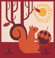 wood autumn squirrel with an acorn vector image