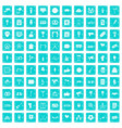 100 events icons set grunge blue vector image vector image