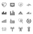 16 wave icons vector image vector image