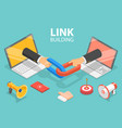 3d isometric flat concept link building vector image