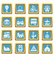 amusement park icons set sapphirine square vector image vector image