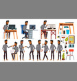 arab man office worker business set face vector image vector image