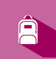 backpack icon with shadow on pink background vector image