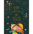Card for lovely christmas with kissing couple and vector image vector image