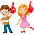 cartoon boy and girl showing number one with foam vector image vector image
