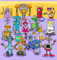 cartoon robot characters big group vector image vector image