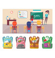 children learning letters at school lesson with vector image vector image