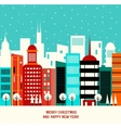 Christmas decoration with winter town vector image vector image