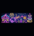 circus neon glowing icons vector image vector image