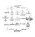 civil transport icons set outline style vector image vector image