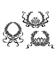 coat arms with laurel leaves and ribbons vector image