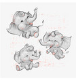 Cute baby elephants set hand drawn