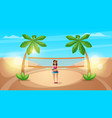 cute beautiful girl play volleyball vector image vector image