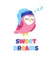 cute cartoon postcard with sleeping owl vector image vector image