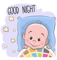 Cute Cartoon Sleeping Baby Boy vector image