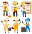 different occupation working on construction site vector image vector image