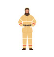 firefighter fireman rescuer man in fireproof vector image vector image
