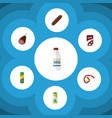 flat icon meal set of bottle fizzy drink vector image vector image