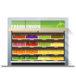 fresh fruits display on shelf in supermarket vector image