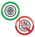 Global network permission signs vector image vector image