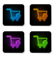 glowing neon add to shopping cart icon isolated vector image vector image