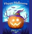 halloween pumpkin in witch hat vector image
