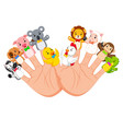 hand wearing 10 finger animal puppet vector image vector image