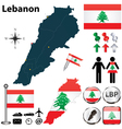 Map of Lebanon vector image vector image