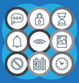 network icons set with alarm eyes clock and vector image vector image