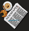 newspaper with cappuccino cup and croissant vector image