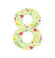 number 8 green floral number made leaves and vector image vector image