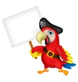 Parrot pirate cartoon with blank sign vector image vector image