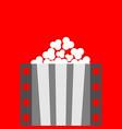 popcorn film strip line pop corn box cinema vector image vector image