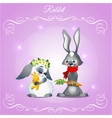 postcard with two rabbits on a purple background vector image vector image