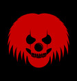 red clowny messy haired skull head logo symbol vector image