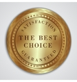 round golden badge label with satisfaction vector image vector image